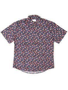 Vanishing Elephant Amethyst - Classic SS Shirt - Navy Floral