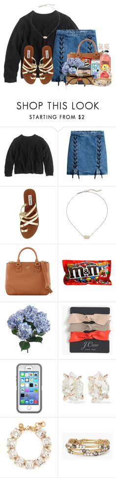 """HEY YALL READ THE D!!"" by flroasburn ❤ liked on Polyvore featuring J.Crew, Steve Madden, Kendra Scott, Tory Burch, Melissa Joy Manning, Stella & Dot, Ray-Ban and schoollife"