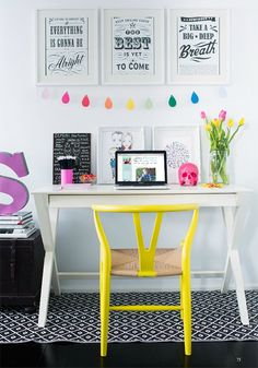 Pretty office space: black and white print outs, Ikea white frames, paint color chips on string, empty glass jar for flowers, small board with chalk board paint, re-painted thrift store chair... not bad : )