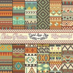 Tribal Aztec Pattern Digital Paper Backgrounds - Blue Beige Green - Personal and Small Commercial use