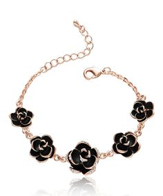 Love this Cubic Zirconia & Rose Gold Multi-Flower Bracelet by Silver & Co. on #zulily! #zulilyfinds