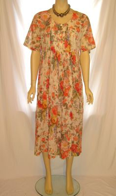womens retro style floral short sleeve long dress by MyUpcycle.Com