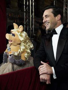 Miss Piggy and John Hamm
