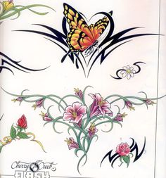 Butterfly With Flowers Tattoo, Flower Tat, Butterfly Tattoos, Wrist Tattoos, Tatoos, Tattoo Images, Tattoo Photos, Tattoo Band, Flowering Vines