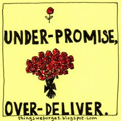 Under Promise, Over Deliver.  Things We Forget: March 2009