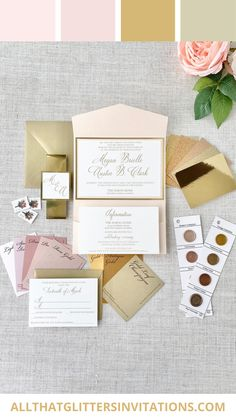 Color Scheme: Gold and Blush Gold and Blush Weddings Blush Wedding Theme, Blush Pink Wedding Dress, Pink And Gold Wedding, Blush Weddings, Whimsical Wedding Invitations, Monogram Wedding Invitations, Glitter Invitations, Wedding Inspiration, Wedding Ideas