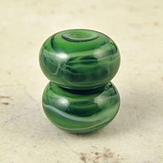Handmade Glass Lampwork Bead Pair Mint Olive Green by SpawnOfFlame