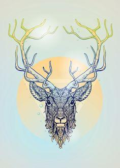 dear deer hipster modern blue yellow head eye triangle circle vertical abstract illustration design Animals