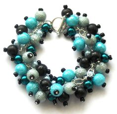 Pearl Cluster Bracelet Black Teal and Pale Blue by beadingshaz, £12.50