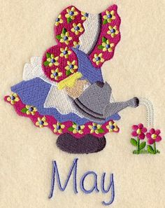 SUNBONNET SUE MAY -MACHINE EMBROIDERED QUILT BLOCK (AzE