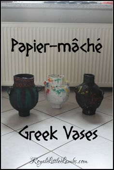 Papier-mâché Ancient Greek Vases  We loved learning about ancient Greek pottery. We completed several projects to learn about Greek vases.  We recently traveled to Greece and saw many beautiful examples of Greek pottery with all sorts of designs, shapes, and colors.  Then we completed some fun art projects!