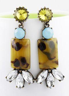 Yellow Gemstone Geometric Crystal Earrings 6.80