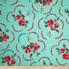 Michael Miller Retro Florals Francis Aqua from @fabricdotcom  Designed for Michael Miller, this cotton print fabric is perfect for quilting, apparel, and home decor accents. Colors include pink, green, white, shades of red, and shades of aqua.