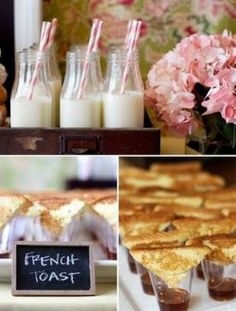 Baby shower theme featuring adorable bite sized french toast. #baby #party