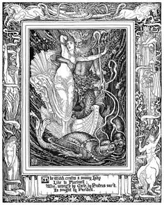 The witch creates a snowy lady, Like to Florimell, Who wrong'd by Carle by Proteus sav'd, Is sought by Paridell.  Walter Crane, from Spenser's Faerie Queene vol. 3, by Edmund Spenser, London, 1895.