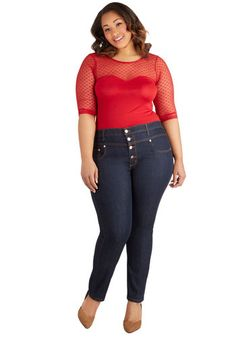 Karaoke Songstress Jeans in Cropped Cut - Plus Size - Denim, Blue, Solid, Buttons, Pockets, Casual, Rockabilly, Pinup, Vintage Inspired, 40s, 50s, 60s, Cropped, Basic, Exclusives