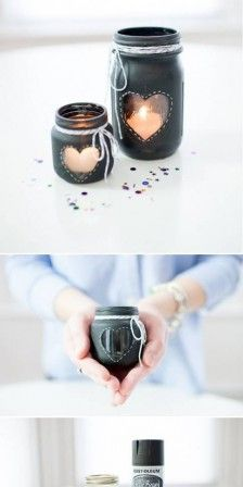 Nice glass jars to make yourself! Easy Crafts, Crafts For Kids, Shell Candles, Trash Art, Bohemian Bedroom Decor, Diy Candle Holders, Pots, Jar Lamp, Jar Gifts