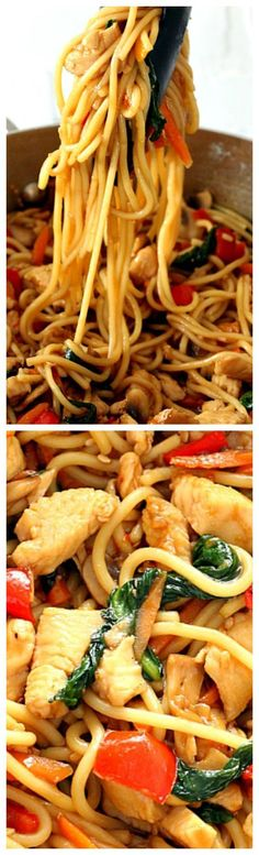 Easy Chicken Lo Mein ~ Quick and easy homemade chicken, vegetables and noodles dish with teriyaki sauce... Much better than take-out.