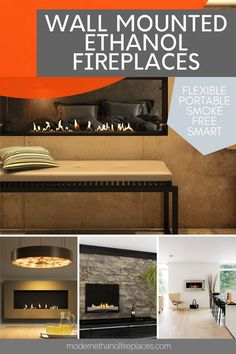 Suspended Fireplace, Wall Mounted Fireplace, Wall Mount Electric Fireplace, Small Fireplace, Fireplace Inserts, Fireplace Wall, Living Room With Fireplace, Fireplace Design, Bioethanol Fireplace
