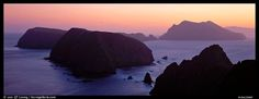 Chain of islands at sunset, Anacapa Island. Channel Islands National Park