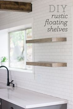 8 Simple and Ridiculous Ideas: Wooden Floating Shelves Ikea Hacks floating shelves with lights kitchen.Floating Shelves Study Built Ins wooden floating shelves white subway tiles. Rustic Kitchen, New Kitchen, Kitchen Ideas, Kitchen White, Design Kitchen, Kitchen Small, Kitchen Modern, Wooden Kitchen, Kitchen Dining