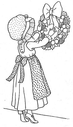 New ideas for embroidery patterns vintage free sunbonnet sue Best Embroidery Machine, Free Machine Embroidery Designs, Embroidery Hoop Art, Vintage Embroidery, Sarah Kay, Christmas Coloring Pages, Coloring Book Pages, Christmas Drawing, Patch Quilt