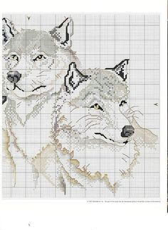 Cross-stitch Wolves, part 2..  color chart on part 3