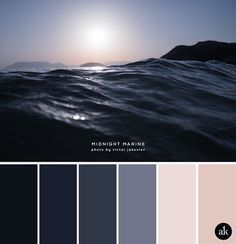 a sea-inspired color palette — Creative brands for creative people // Akula Kreative - a sea-inspired color palette // midnight blue, navy, nude, blush pink Color Palette For Home, Blue Colour Palette, Navy Blue Color, Color Palettes, Midnight Blue Color, Pink Color, Bedroom Color Schemes, Bedroom Colors, Colour Schemes