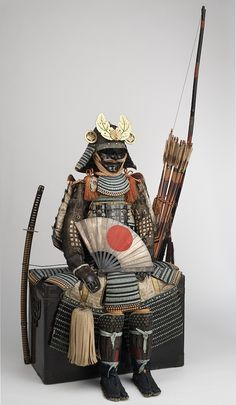 Armor of the nuinobedō type (nuinobedō tōsei gusoku) and military equipment, late Momoyama period, about 1600 (chest armor, helmet bowl, shoulder guards), remounted mid-Edo period, mid-18th century, iron, lacquer, gold, bronze, silver, leather, wood, horsehair, hemp, brocade, steel, photograph by Brad Flowers, © The Ann & Gabriel Barbier-Mueller Museum, Dallas