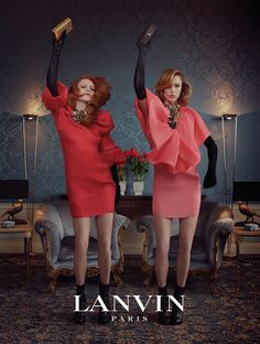 Karen Elson and Raquel Zimmermann starring in Lanvin's fall 2011 campaign.