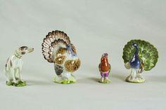 Serie di piccoli animali. Meissen, 1750 circa. Porcellana dura dipinta in policromia e oro. Museo della Ceramica G. Gianetti.