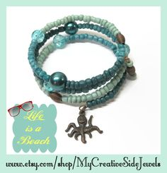 Teal octopus wrap bracelet.  Perfect summer jewelry.  SHOP: https://www.etsy.com/shop/MyCreativeSideJewels
