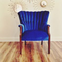 Electric blue chair. Craigslist find for $65