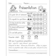 Présentation orale Education And Literacy, French Education, French Teaching Resources, Teaching French, How To Speak French, Learn French, Presentation Rubric, Communication Orale, French Worksheets