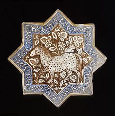 Star Tile The Legacy of Genghis Khan: Courtly Art and Culture in Western Asia, 1256-1353 | Origin: Iran, Kashan | Period:  circa 1300 | Collection: The Nasli M. Heeramaneck Collection, gift of Joan Palevsky (M.73.5.377) | Type: Ceramic; Architectural element, Fritware, overglaze luster-painted, with cobalt blue, Diameter: 8 1/4 in. (20.96 cm)