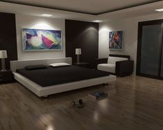Modern Master Bedroom Design Ideas with Creative Photo Wall Decoration