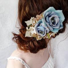blue hair flower hair clip bridal hair comb flower by thehoneycomb