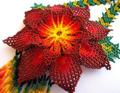 Mexican Huichol Beaded flower Necklace by Aramara on Etsy Loom Beading, Beading Patterns, Beaded Flowers, Paper Flowers, Native American Jewellery, Native Beadwork, Weaving Art, Beading Projects, Crochet Accessories