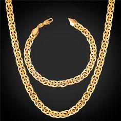 U7® Flash Sale Platinum Plated/18K Gold Plated/ Black Gun Plated Rock Woven Chain Bracelet Necklace Jewelry Set For Men Hip Hop Gift Wholesale