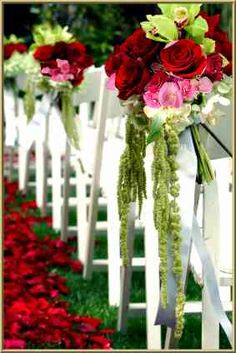 Wedding Flowers...I'm liking the lime green and red :) Its light and pretty and fun and still good for summer
