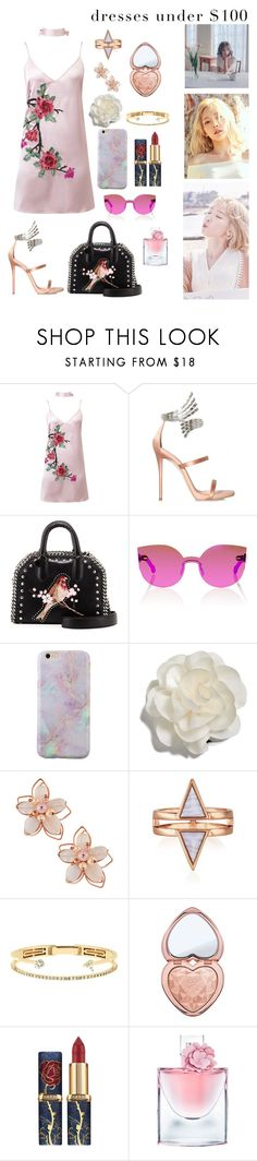 """""""Untitled #186"""" by arthemiscostean ❤ liked on Polyvore featuring WithChic, Giuseppe Zanotti, STELLA McCARTNEY, RetroSuperFuture, Cara, NAKAMOL, Delfina Delettrez, Too Faced Cosmetics and Lancôme"""
