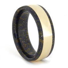 Lapis Mokume Gane Ring with 14k Yellow Gold Inlay, Wedding Band