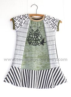 graphic owl #courtneycourtney #eco #upcycled #recycled #repurposed #tshirt #vintage #dress #girls #unique #clothing #ooak #designer #upscale  #fashion #wrenwillow #owl #graphic #bold #stripes