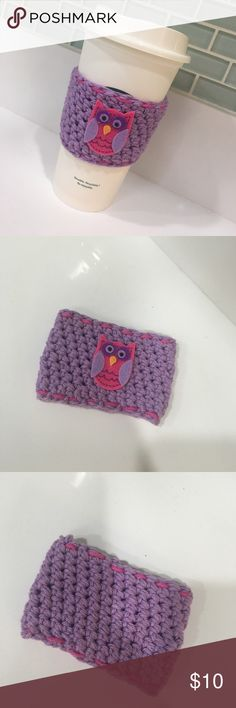 Handmade owl Coffee/tea sleeve Handmade by me, crochet with 100 percent cotton yarn. New never used it. Fits the Starbucks resizable cups. Does not come with cup. Great accessory to have. Purple and pink with owl. 3 inches long circumferences is 8 inches wide. Has a stretch to it. Accessories