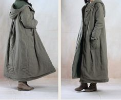 women plus size loose cotton linen winter coat