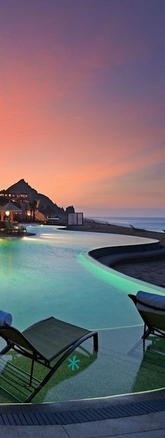 Capella Pedregal Luxury Resort, Cabo San Lucas, Mexico - Why this picture connects with me: peaceful, calm, flowing, the colors, and contrast between the pool and the beach.