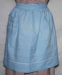 Vintage Half Apron Baby Blue with White Ric by ilovevintagestuff