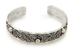 Sterling silver cuff bracelet, 'Kissed by Dew'