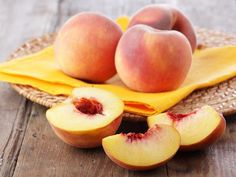 Peaches  Summer is prime peach-picking season, when these fuzzy stone fruits are fully ripe with sweet golden flesh and a floral scent. Slice and serve them fresh in spiral fruit tarts and sangria or simmer them down into a juicy cobbler filling.