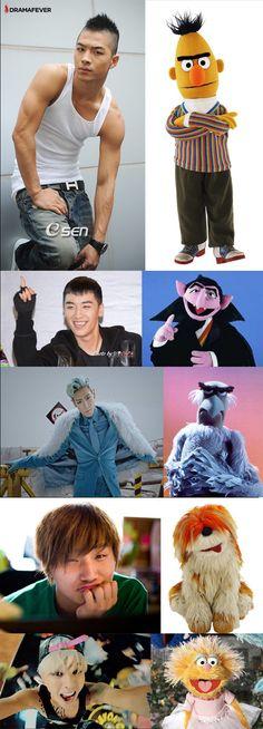 Hmmmm...BIGBANG as muppets..GD as htat one girl muppet